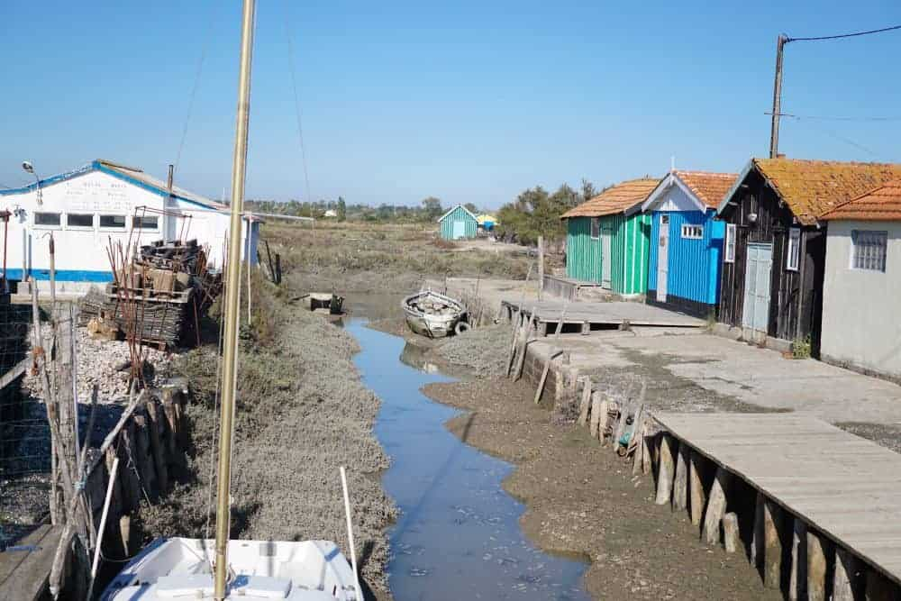 Oyster huts on the Ile d oleron, France. Fort Royer, Oleron Island