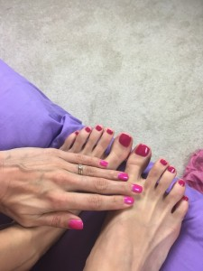 Fingers and toes nails closeup