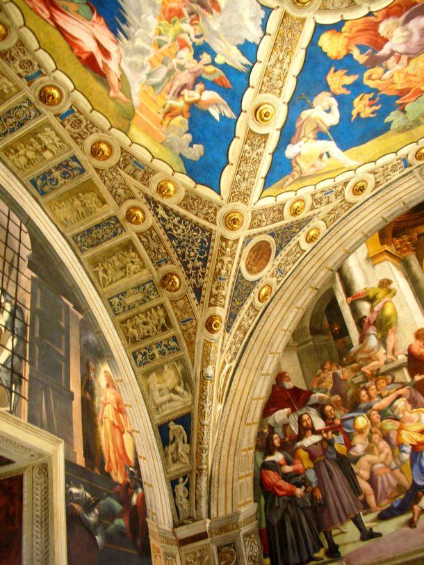 The wall frescoes inside Raphael Room