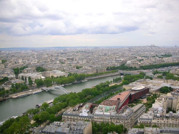 The view from the first observatory deck of the Eiffel Tower.