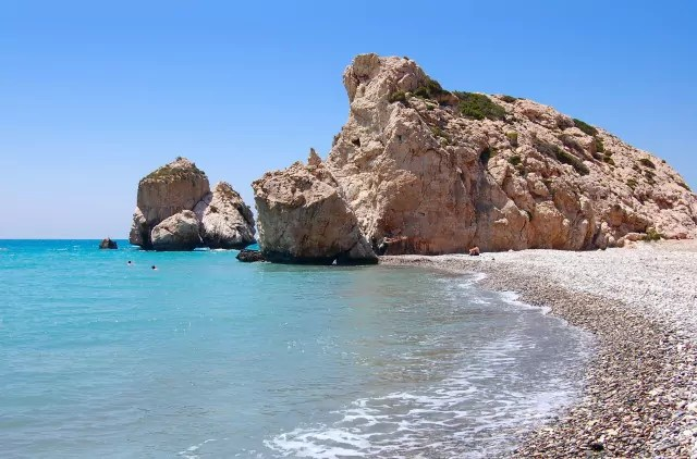 Rock of Aphrodite or Petra tou Ramiou in Cyprus, Europe