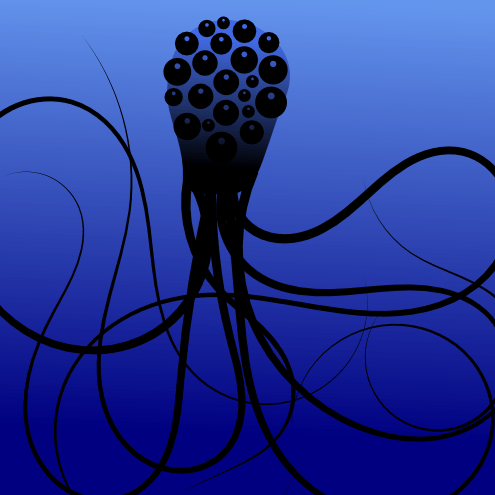 A monstrous squid with a hundred eyes by John LeMasney via 365sketches.org #cc #design #illustration #inkscape