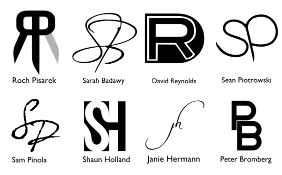 A set of monograms for friends by John LeMasney via 365sketches.org #cc #design #typography