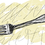 Fork by John LeMasney via 365sketches.org #Inkscape #drawing #food #cc