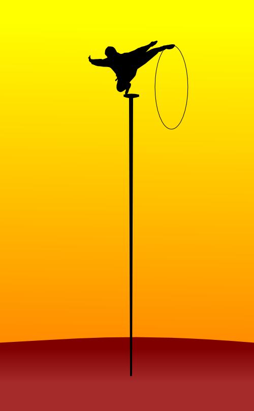 On balance, or, an acrobat balancing on a tall, thin stick by John LeMasney via 365sketches.org #illustration #cc #design