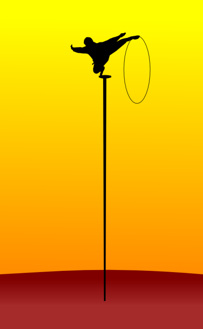 On balance, or, an acrobat balancing on a tall, thin stick by John LeMasney via 365sketches.org #illustration #cc #design