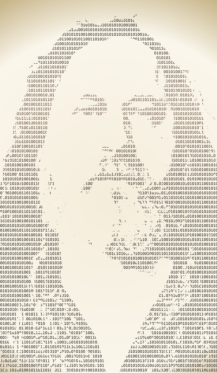 20121206: A portrait of Richard Stallman's face in ascii text binary code by John LeMasney via 365sketches.org #opensource #creativecommons #design