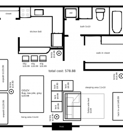 20121201 a studio apartment layout with ikea furniture by john lemasney via 365sketches org cc design floorplan lemasney [ 1000 x 1000 Pixel ]