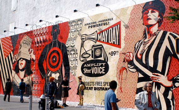 """""""Shepard Fairey's 2010 mural on Houston and Bowery in New York"""" found in Love 2 Hate Shepard Fairey! 