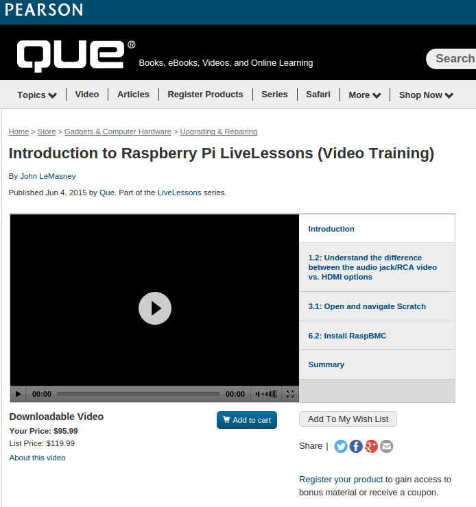 Introduction to Raspberry Pi LiveLessons Video Training Que | lemasney