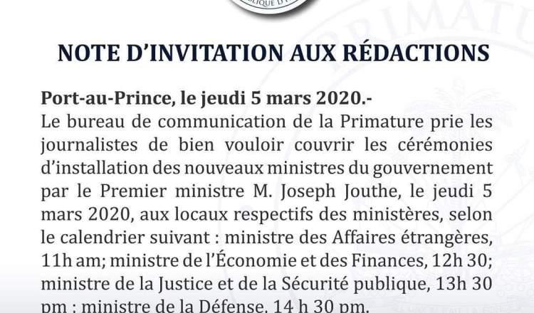 Primature : La presse est invitée à l'installation de 4 nouveaux Ministres ce jeudi 5 mars 2020 11
