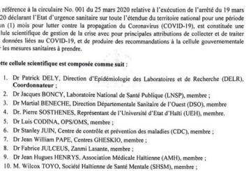 Haïti-Coronavirus : Le gouvernement forme une cellule scientifique pour gérer la crise du virus 9
