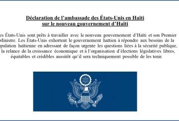 Haïti-Diplomatie : Les États-Unis supportent le nouveau gouvernement 2
