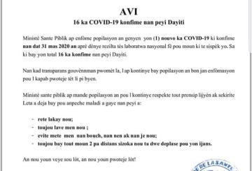 Haïti-Coronavirus : Un seizième cas officiellement confirmé 1