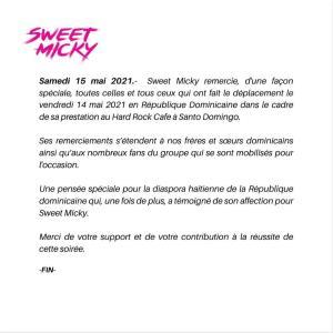 Haïti-Culture : Après sa prestation couronnée de succès en République Dominicaine, Sweet Micky remercie ses fanatiques 1