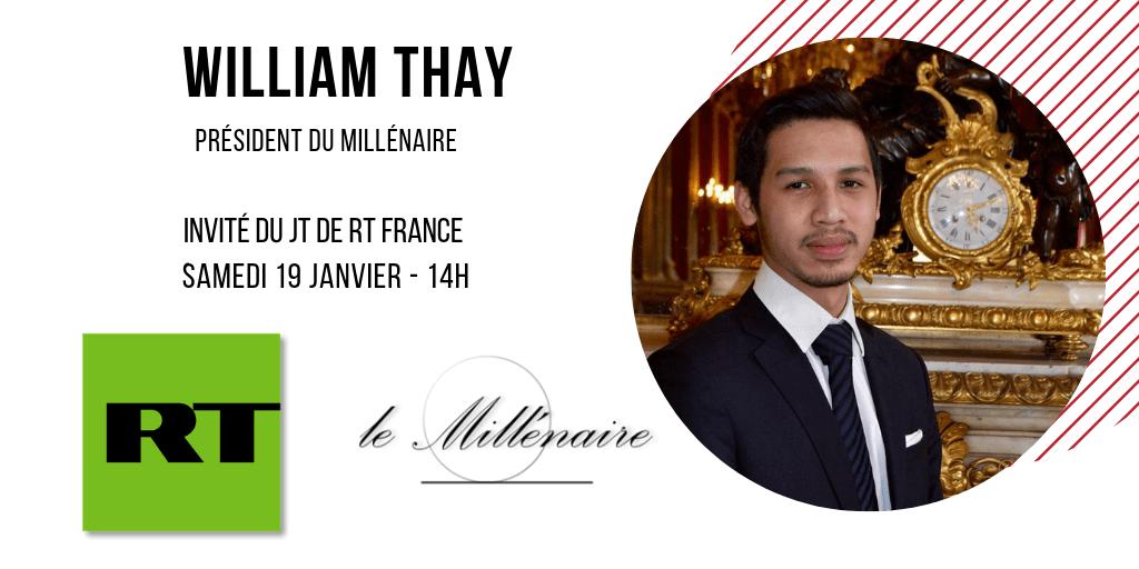 William Thay, Président du Millénaire, invité du JT de RT France le 19 janvier