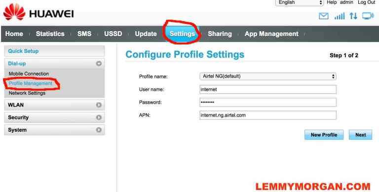 APN settings for HUAWEI universal USB modem