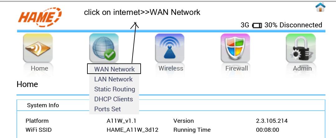Broadband Dashboard manual setting