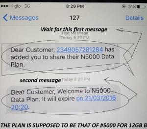 sms confirmation for glo data share