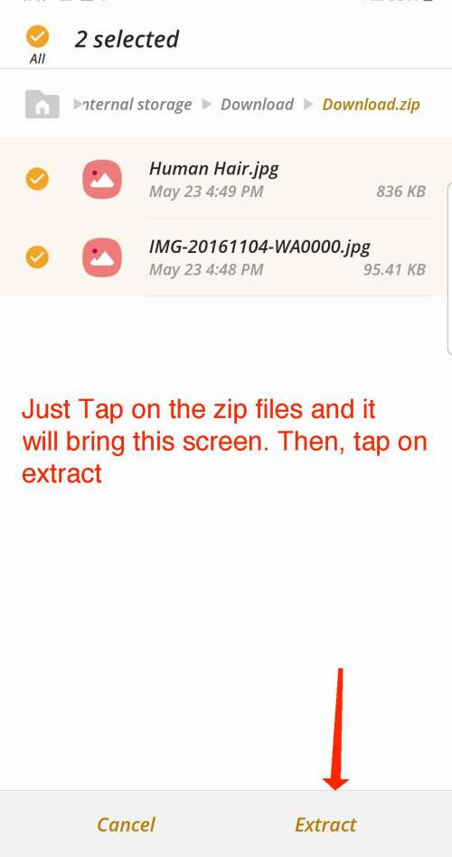 how to open zip files with samsung default file app