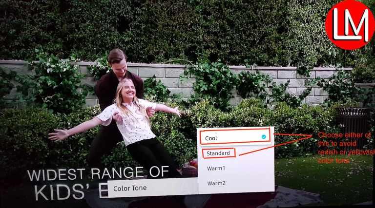 Color tones on Samsung 4K Tv