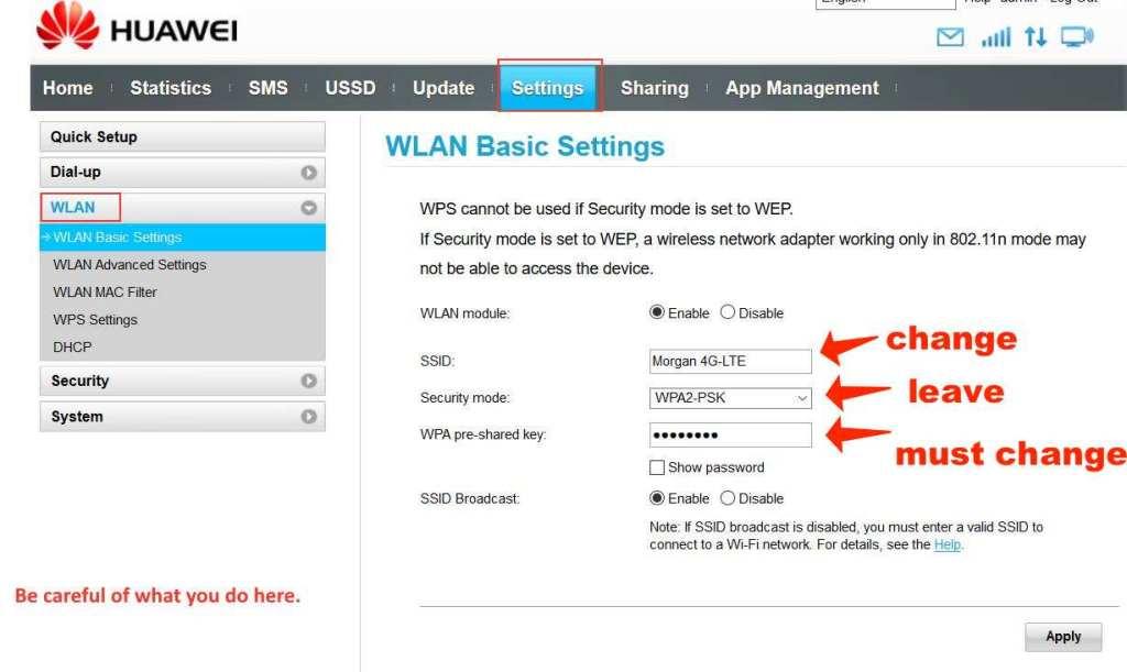 huawei E8372h_608-wilan settings