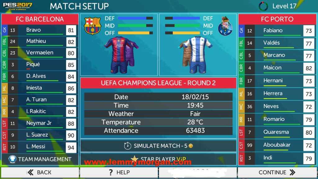 Pes 2017 match setup on mobile