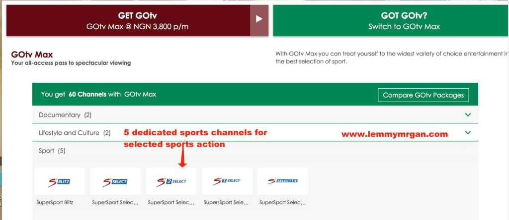 Introducing new GOtv Max subscription comes with five sports