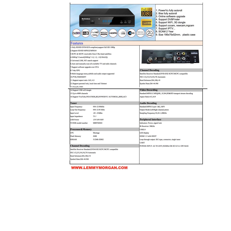 Hellobox V5 HD DVB-S2 Satellite Receiver multifunction FTA