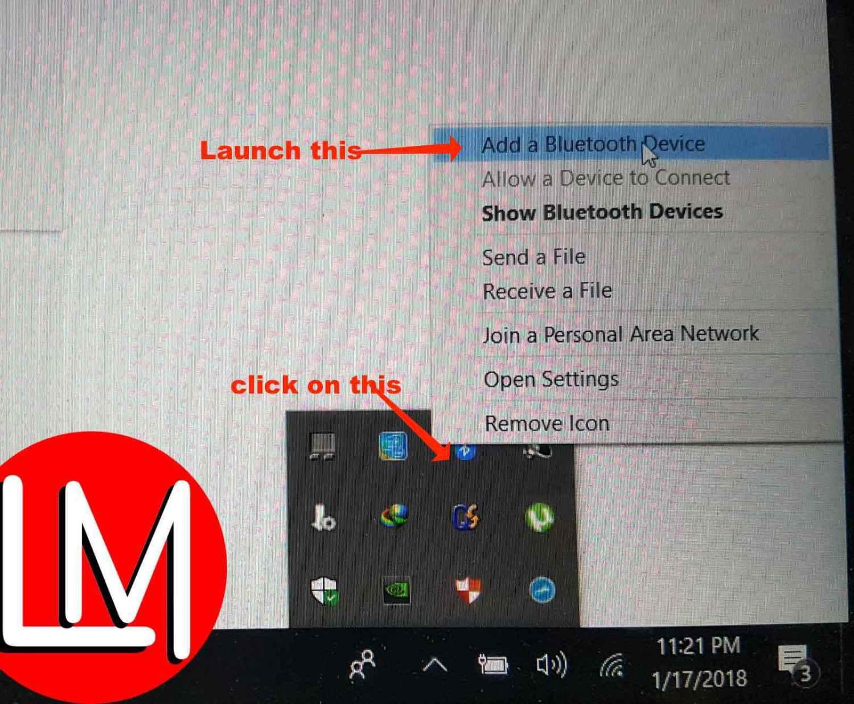launch_bluetooth_from_taskbar_on_Windows_10