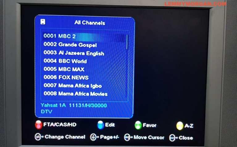 TStv channels on Yahsat 1A page 1