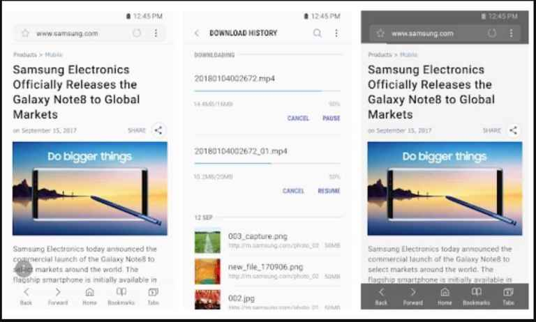 Samsung Internet on Note 8