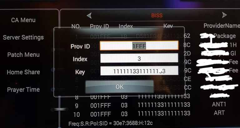 Prov ID, iNDEX AND BISS MENU ON TIGER T3000
