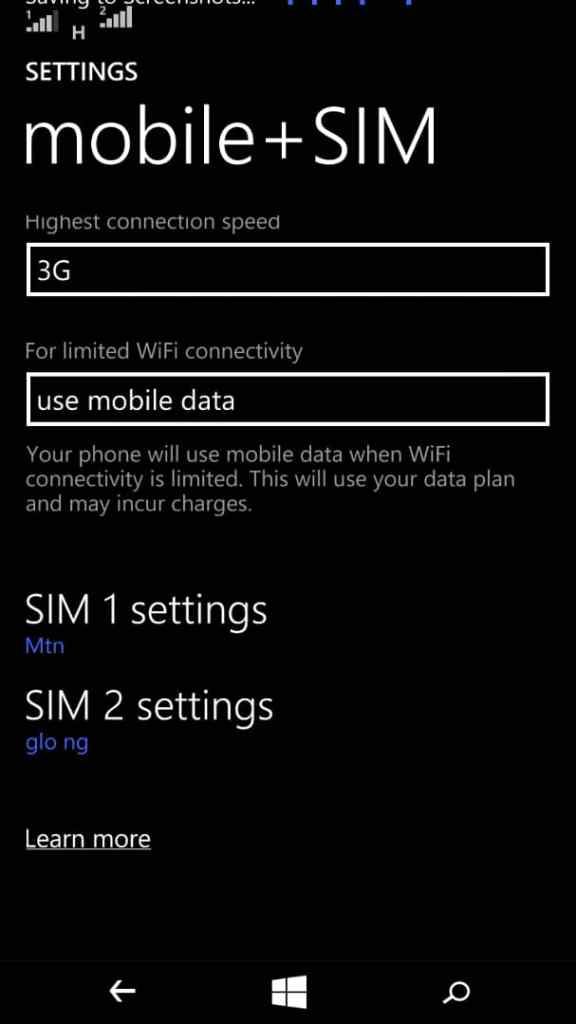 Select the sim and data protocol to use on windows phone