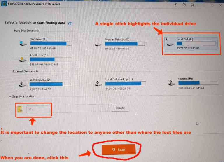 EaseUS Data Recovery Wizard 12.0 How to specify the drive to scan
