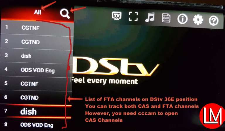 Satellite TV channels showing on DVBPlayer Android
