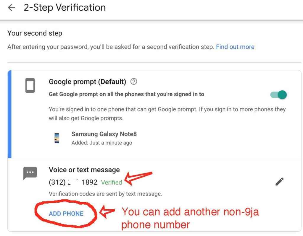 2-step verification on google Nigeria account