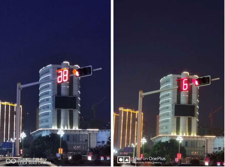 night scene mode under 3× zoom comparison between huawei and oneplus