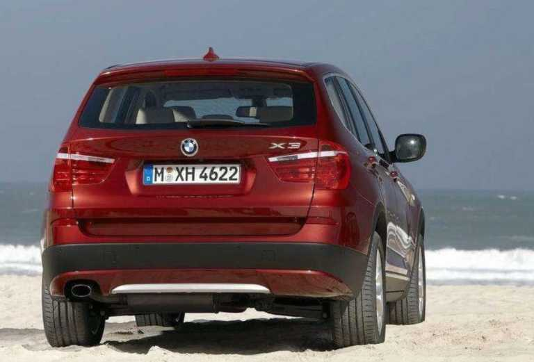 Rear view of BMW X3 SUV 2020