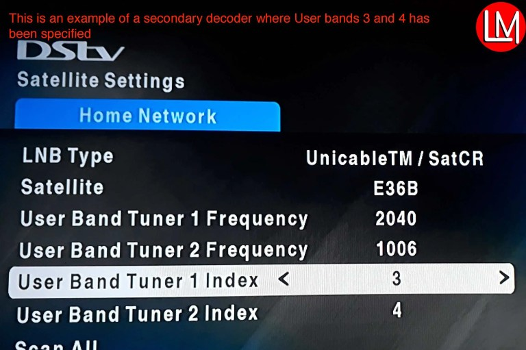 secondary xtraview decoder user band indexes