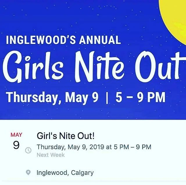 Thursday May 9th is Girls Nite Out in Inglewood. Sip & shop your favourite local boutiques! Hit up the event page on Facebook.