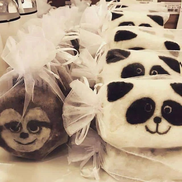 Sloth & Panda Felted Soaps
