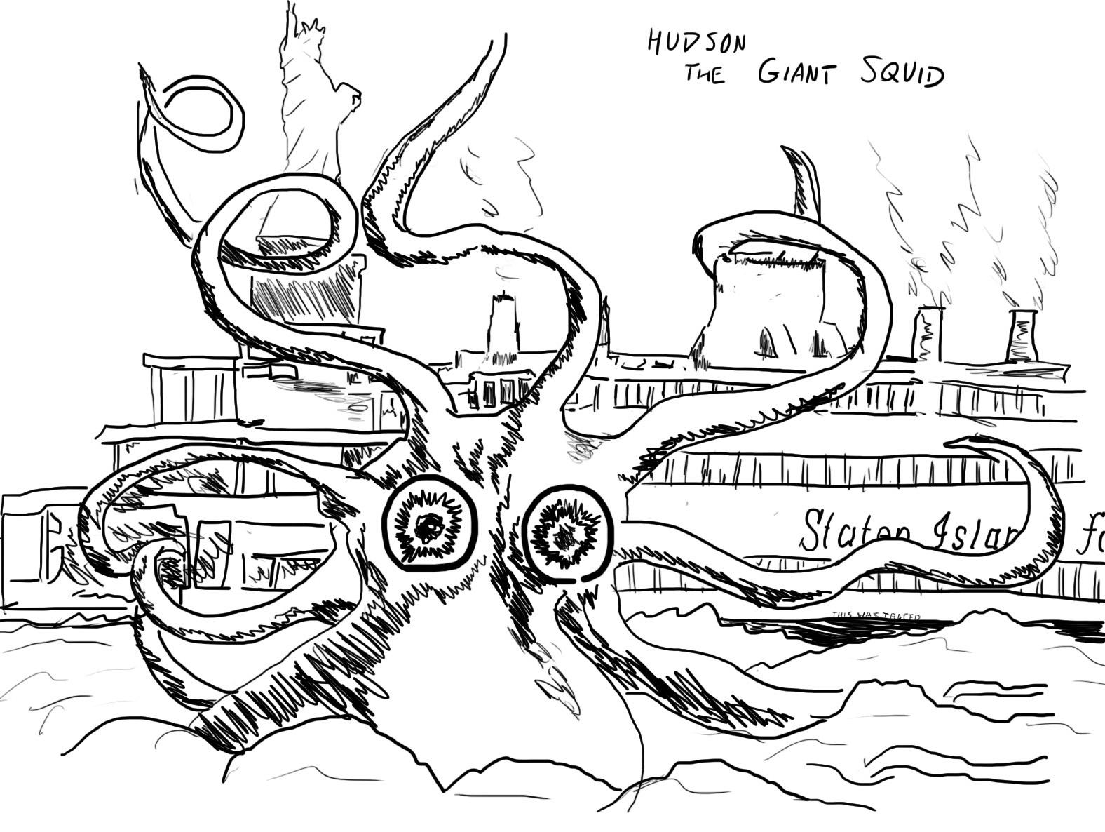 Squid Coloring Worksheet