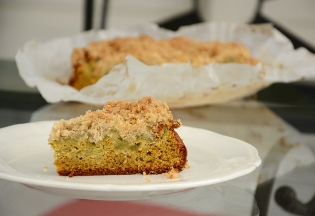 gâteau crumble rhubarbe