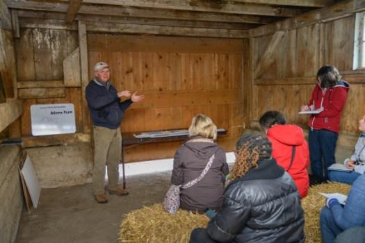 Alan Adams speaks to us in his family barn. Photo courtesy of Illinois Farm Bureau.