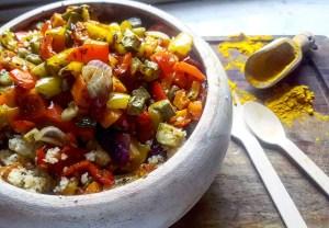 verdure al forno con couscous alla curcuma