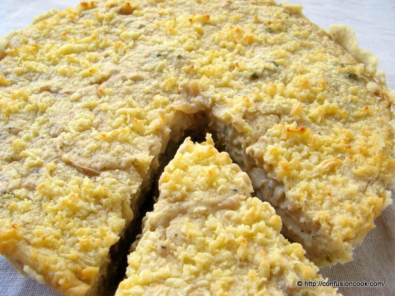 Eggless Caramelized Onion, Broccoli, Corn & Cheese Quiche