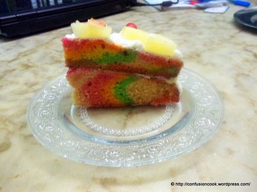 Eggless Rainbow Cake with Fresh Cream & Pineapple Cherry Frosting