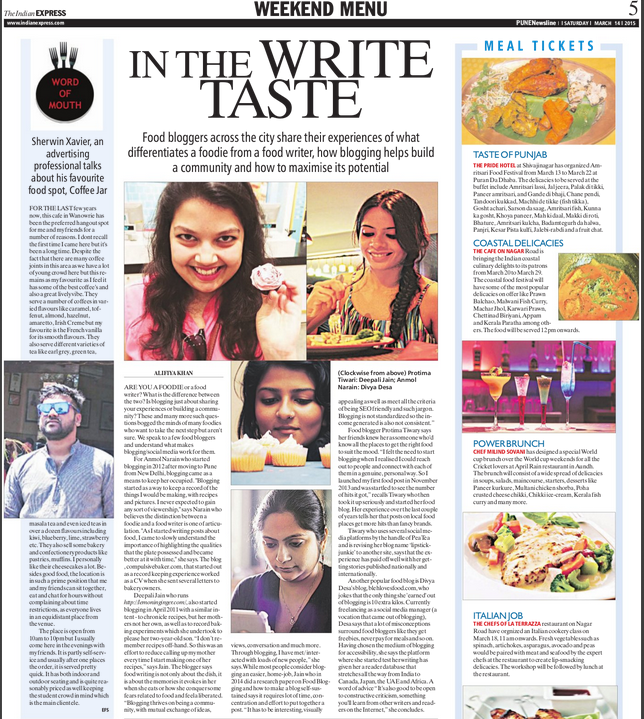 Interview in Indian Express on 14-03-15