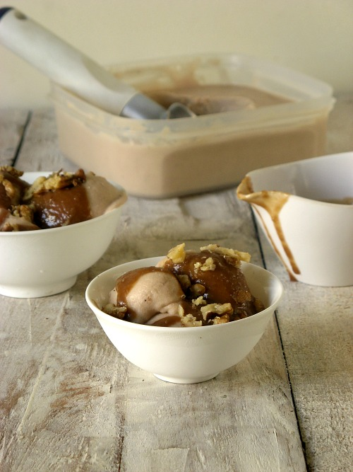 Roasted Banana Ice cream with Lemon Caramel Sauce | #leftover